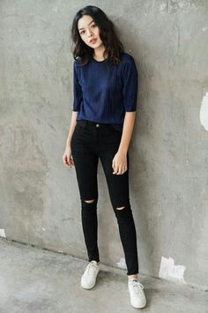 Korean Casual Outfits, Cute Casual Outfits, Simple Outfits, Stylish Outfits, Korean Fashion Trends, Korean Street Fashion, Teen Fashion Outfits, Look Fashion, Jean 1