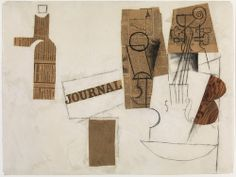 Pablo Picasso (Spanish, 1881-1973). Siphon, Glass, Newspaper, and Violin, Paris, December 3, 1912, or later. Cut-and-pasted newspaper, hand-painted faux bois paper, paper, and charcoal. 18 1/2 x 24 5/8 in. (47 x 62.5 cm). Moderna Museet, Stockholm.