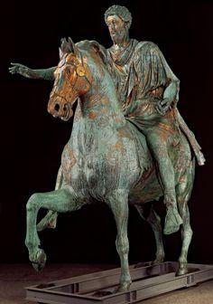Early Roman Empire (c. Equestrian Statue of Marcus Aurelius, Bronze originally gilded, Museo Capitolino, Rome. Sculpture Metal, Roman Sculpture, Horse Sculpture, Sculpture Garden, Ancient Rome, Ancient History, Equestrian Statue, Equestrian Gifts, Art Ancien
