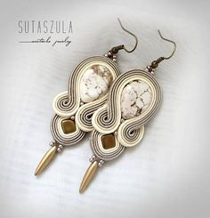 Beige ivory gold soutache earrings statement beaded earrings