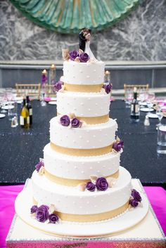 Five-Tier White, Gold and Purple Wedding Cake