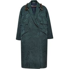 Rochas Bat Jacquard Coat With Fringe Embroidery featuring polyvore, fashion, clothing, outerwear, coats, oversized coat, rochas, embroidered coat, blue coat and jacquard coat
