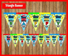 Tayo the Little Bus thank you tags instant por myboutiquepartyfl Fourth Birthday, Birthday Parties, Birthday Ideas, Tayo The Little Bus, Triangle Banner, Birthday Decorations, Birthday Banners, Thank You Tags, Holidays And Events