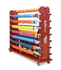 Media storage racks for media rolls Diy Vinyl Storage Rack, Shoe Storage Cabinet, Fabric Storage, Sewing Room Organization, Workshop Organization, Display Shelves, Shelving, Media Rack, Iron Furniture