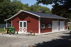 From basic to bold, Morton Buildings builds the finest pole barns, equestrian buildings, steel buildings and more. Learn about post-frame construction here Pole Barn Garage, Garage Shed, Pole Barn Homes, Pole Barns, Detached Garage, Pole Buildings, Shop Buildings, Steel Buildings, Metal Shop Building