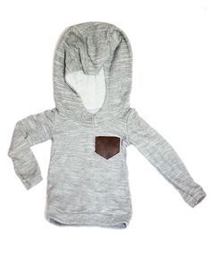 Long Sleeve Hoodie with Leather Pocket – La Pina Children's