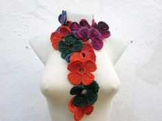 Handmade crochet Lariat Scarf  Pink Green  Orange  by scarfnurlu