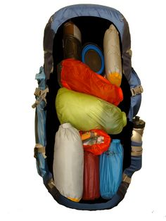 Organizing backpacking backpack with dry bags and stuff sacks