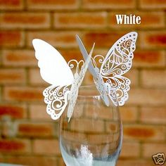 New Butterfly Place Cards for WeddingTable Settings White or Ivory Postage Free in Home, Furniture & DIY, Wedding Supplies, Cards & Invitations Butterfly Place, Butterfly Wedding, White Butterfly, Wedding Places, Wedding Place Cards, Butterfly Table Decorations, Name Place Cards, Wedding Table Settings, Wedding Favours