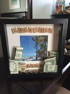 DIY shadow box bank. Great gift of money idea!