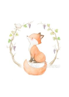 Nursery Art AUTUMN FOX Art Print Chidren's art. por AidaZamora