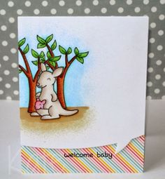 Lawn Fawn - Critters Down Under, Hello Sunshine 6x6 paper, Speech Bubble Border Lawn Cuts die _ sweet baby welcome card by Kate at Just Kate crafting: welcome baby