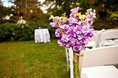 Radiant Orchid Wedding Ceremony Flowers