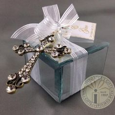 Importers Gifts - bomboniere for baptism, communion & confirmation. Mirrored box with top , cross tied into ribbon. Boy Baptism, Christening, Baptism Ideas, Wedding Favors, Party Favors, Favours, Chanel Wedding, Godfather Gifts, Mirror Box