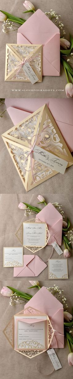 Blush Wedding Invitation - Laser Cut Design || @4lovepolkadots