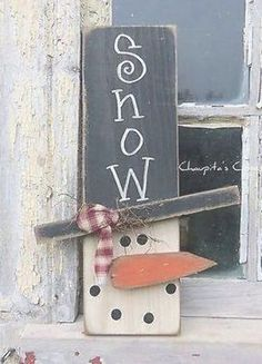 : wood projects most beautiful PRIMITIVE Snowman Wood Sign Door Rustic Christmas Country Home Decor Country Crafts, Country Decor, Country Christmas, Christmas Crafts, Christmas Wood, Christmas Ideas, Cowboy Christmas, Father Christmas, Christmas Christmas