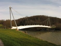 Exterior: Fantastic Panoramio Pedestrian Bridge Design with Large Cable Constructions and Solid Concrete Foundation