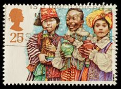 UNITED KINGDOM - CIRCA 1994: A British Used Christmas Postage Stamp showing Three Kings Nativity Scene, circa 1994