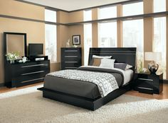 Prima II Black 7 Piece King Bedroom Set; $1,099.96 | Furniture.com