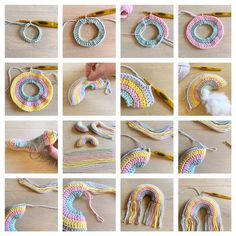 Yep it's time again for a new free crochetpattern! How about some cute mini rainbowhangers? Crochet Home, Cute Crochet, Crochet Crafts, Crochet Dolls, Crochet Yarn, Crochet Stitches, Crochet Projects, Crochet Designs, Crochet Patterns