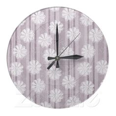 Lilac Linen Stripes Flowers Round Wall Clocks from Zazzle.com