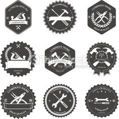 Vintage carpentry tools, labels and design elements. Vector illustration