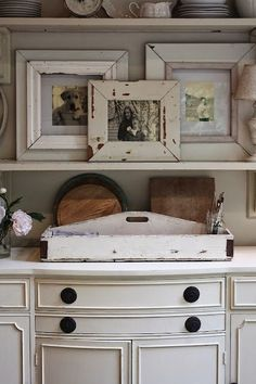 My Sweet Savannah: ~rustic wood shelving~ French Country Living Room, French Country Farmhouse, French Country Decorating, Farmhouse Decor, Fresh Farmhouse, Cottage Decorating, Farmhouse Style, Rustic Wood Shelving, Wood Shelves