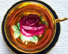 Glamorous Golden Rose Handpainted 1940's Black Paragon Teacup and Saucer - Edit Listing - Etsy
