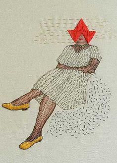 Woman in yellow shoes & red hat embroidered by Hagar van Heummen.