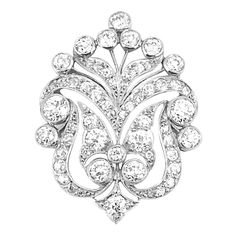 Platinum and Diamond Palmetto Brooch  56 diamonds ap. 2.70 cts., c. 1905, ap. 5.6 dwt.