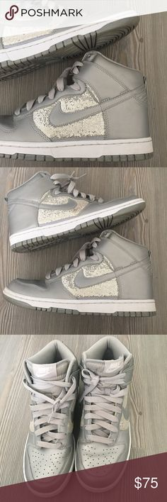 Nike Sparkle High Top Dunks Sneakers sz 9US Gently used and in great condition. Silver High dunks with sparkle detailing. Slight discoloring on sparkly portion of right shoe (see second to last pic) otherwise no major creasing and in great condition! No trades, make an offer or bundle to save! Nike Shoes Sneakers