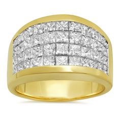 Artistry Collections 14k Gold 4ct TDW Diamond 4-row Invisible set Ring