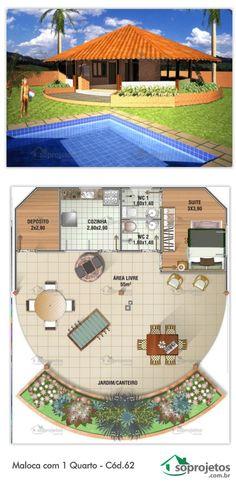Projeto de maloca com 1 dormitório, e uma cozinha. Área livre com 55 m², que integra o exterior. Ótima para praia. Telhado em telha de barro.: