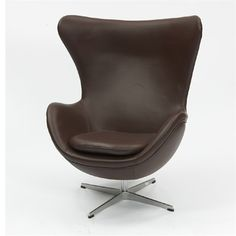 """Inner Leather """"Egg"""" Modern Lounge Chair: This wonderful chair features a molded fibre glass frame, fire retardant polyurethane foam padding, and coverd with 100% italian leather all over.    Colors: Black, Brown, Red, White"""