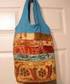 Hobo Bag Casual Shoulder Crushed Velvet Hippie Style Bag Blu - 1
