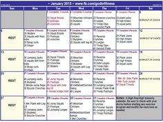 Faith Fitness and Nutrition- January challenge calendar