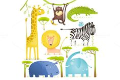 Check out African Animals Fun Cartoon Clip Art by Popmarleo Shop on Creative Market