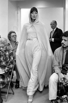 Anjelica Huston for Halston's show by Pierre Schermann, 1972