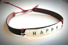 Stamped Sterling on Leather bracelet #Happy