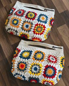 Bolsas de crochê – Knitting patterns, knitting designs, knitting for beginners. Granny Square Crochet Pattern, Crochet Squares, Crochet Stitches, Granny Square Bag, Crochet Shell Stitch, Crochet Wallet, Crochet Gifts, Crochet Handbags, Crochet Purses