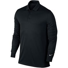 UK Golf Gear - Nike Victory Long Sleeve Mens Golf Polo Shirt - Black or Grey / Sml - 2XL