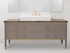 Lutetia L11 Luxury Italian Bathroom Vanity in Grey Lacquered Wood
