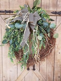Front Door Wreath, farmhouse Eucalyptus wreath, Burlap Wreath, Greenery Wreath for All Year Round, Green Wreath, Eucalyptus door wreath by FarmHouseFloraLs on Etsy