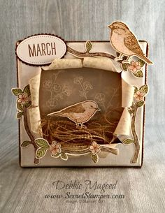By Debbie Mageed, Best Birds Card idea, Home Decor, Spring, Stampin Up Fun Fold Cards, Folded Cards, 3 D, Bee Cards, Anna Griffin Cards, Spring Theme, Shaped Cards, Easel Cards, Stamping Up Cards