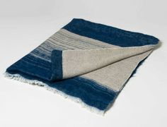 Hand woven by noted Brooklyn designer/ weaver  Hiroko Takeda. Exclusive to Room406. Gorgeous indigo colored mohair on raw silk.  Heirloom worthy piece