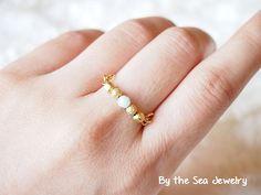 Swarovski mint alabaster gold plated beads Wire by BytheSeajewel, ¥1000