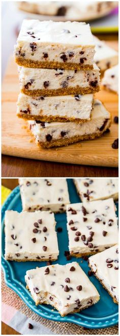 An easy recipe for 128 calorie lightened-up chocolate chip cheesecake bars, sacrificing none of the creamy texture and flavor!