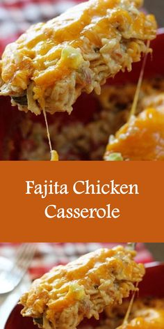 Fajita Chicken Casserole Ingredients 4 cups shredded cooked chicken (about 3 large breasts) 2 cups instant rice Recipes With Chicken Fajita Meat, Recipe Using Chicken, Cooking Chicken To Shred, Shredded Chicken Recipes, Chicken Fajitas, Mexican Food Recipes, Recipes With Chicken Pieces, Mexican Dishes, Mexican Chicken Casserole