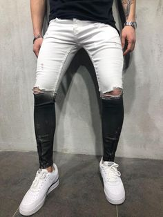 07feccba54b Black and White Ripped Jeans 3715