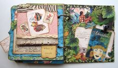 Love the pages in Maria's Tropical Travelogue mini - amazing design! #graphic45 #minialbums